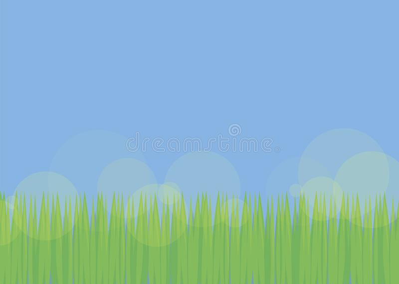 Simple background with blue sky and green fresh grass with translucent yellow glare of the sun field glade soccer lawn bright brig vector illustration