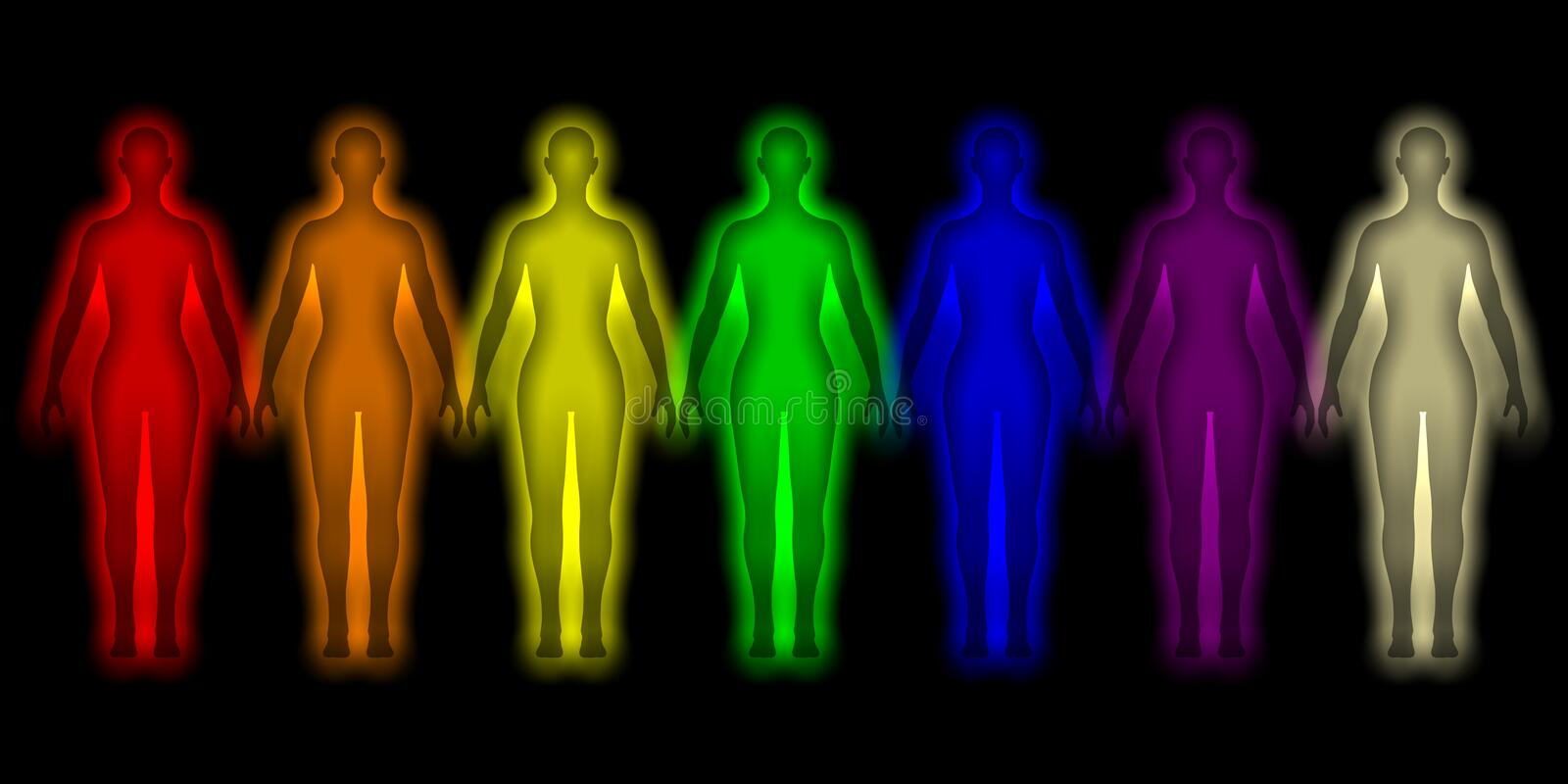 Simple background with colored human energy body royalty free illustration