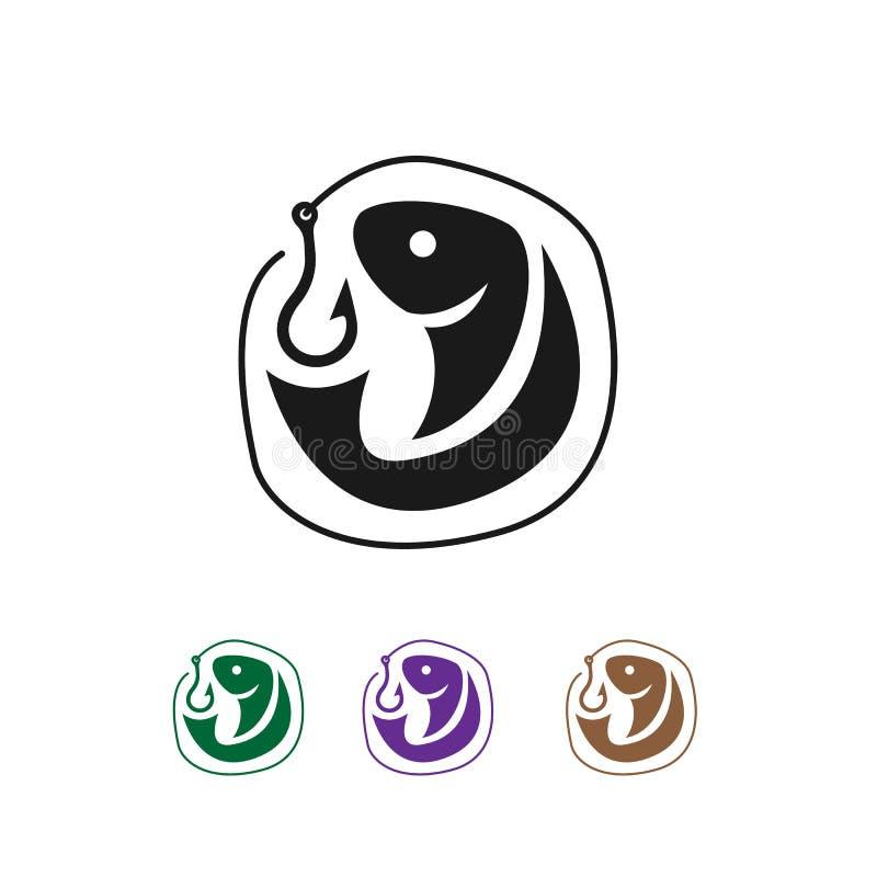 Simple bait and fish for Fishing Logo design inspiration stock illustration