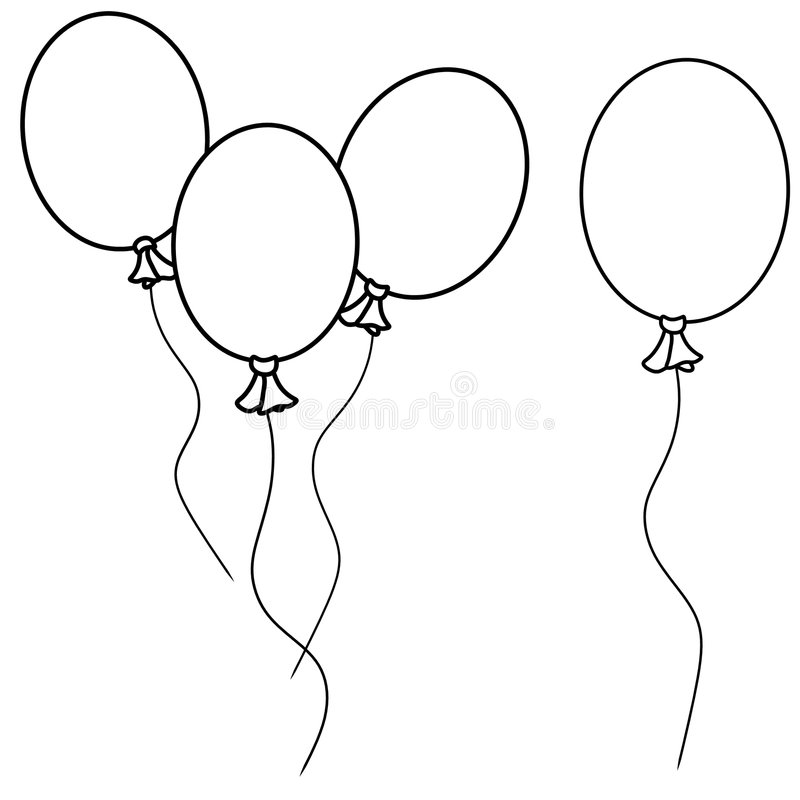 Simple Balloons Line Art royalty free illustration