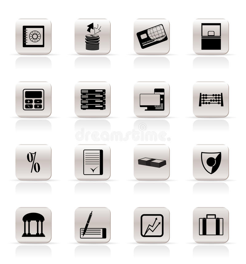 Simple bank, business, finance and office icons royalty free illustration