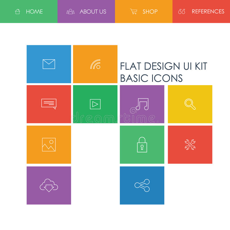 Simple Basic Website Template Design With Icons Stock Vector ...