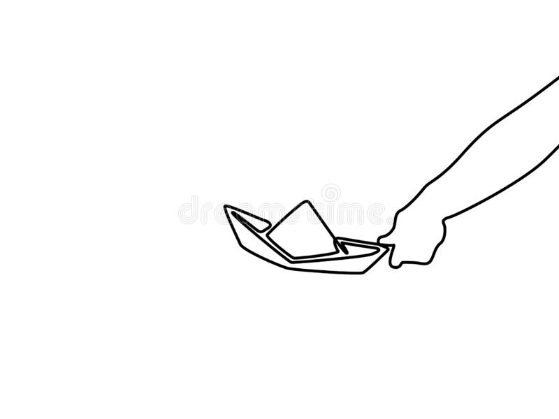 Simple bateau de papier de dessin au trait sur le fond blanc Illustration de vecteur illustration de vecteur