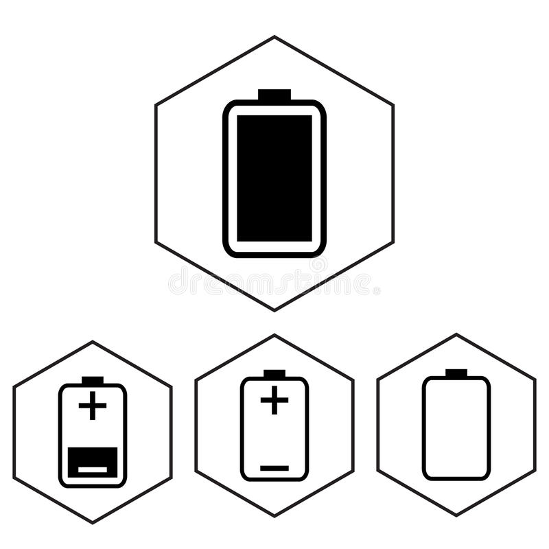 Simple battery icon with charge level. Polygon level.  vector illustration
