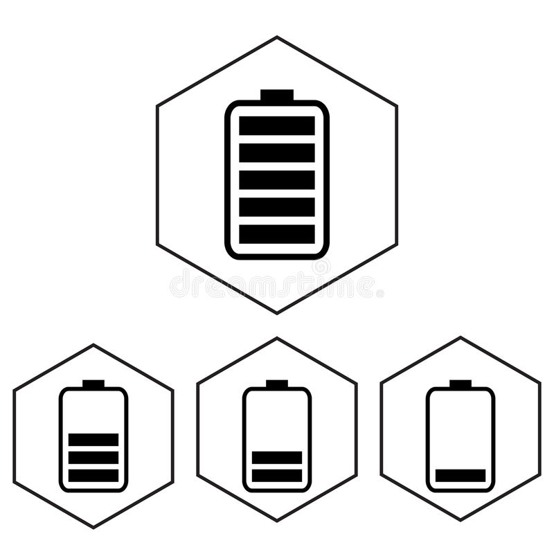 Simple battery icon with charge level. Polygon level.  royalty free illustration