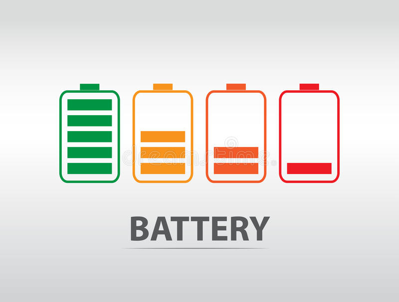 Simple battery icon with colorful charge level.  vector illustration