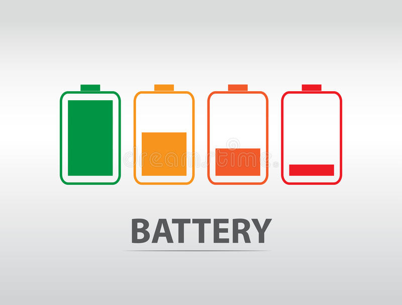 Simple battery icon with colorful charge level.  royalty free illustration