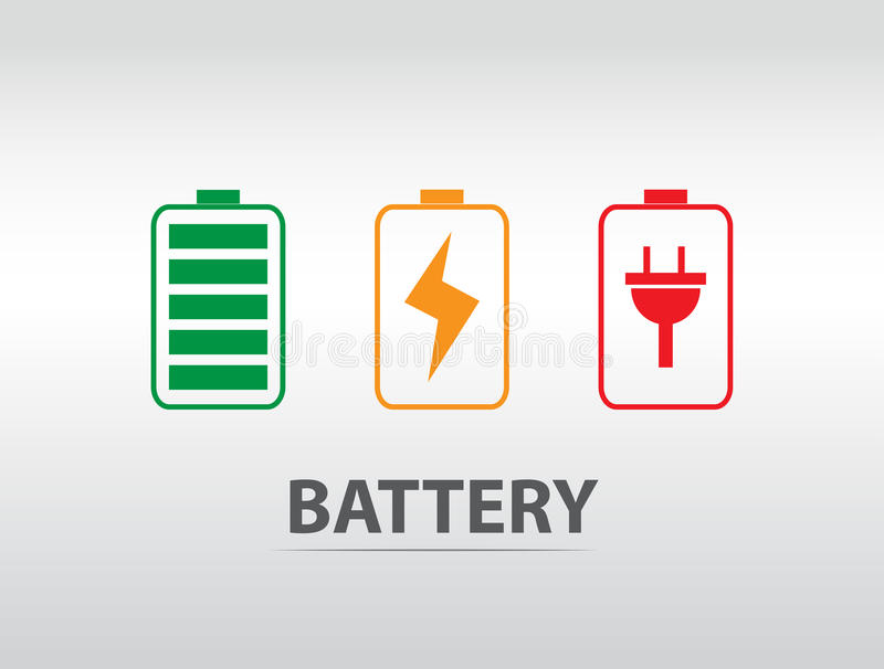 Simple battery icon with colorful charge level.  stock illustration