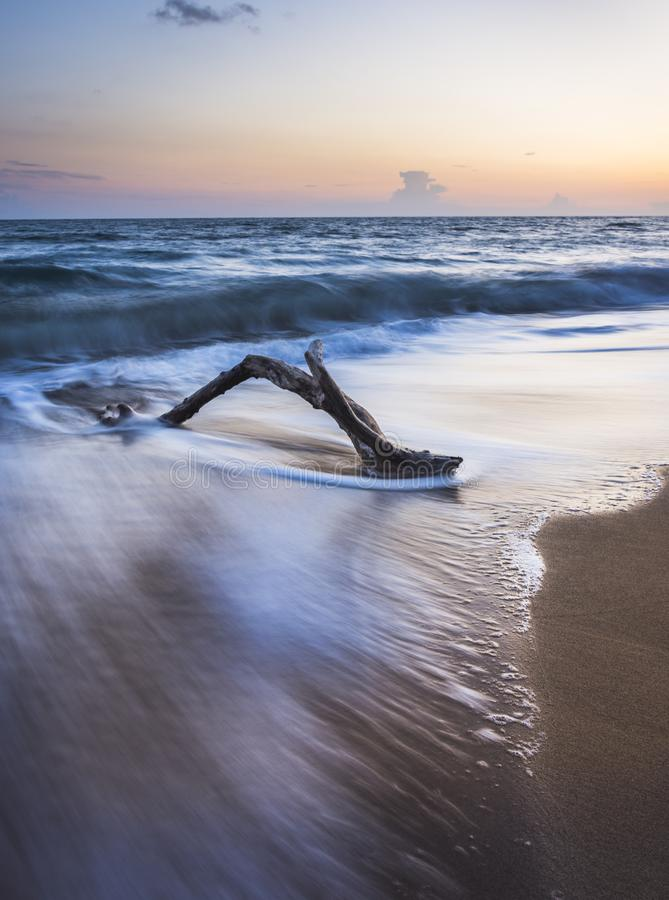 Simple beach sunset shot in long exposure.Copy space. Amazing Greece stock photos