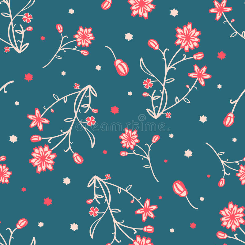 Simple and beauty flower seamless pattern. Vector royalty free stock photos