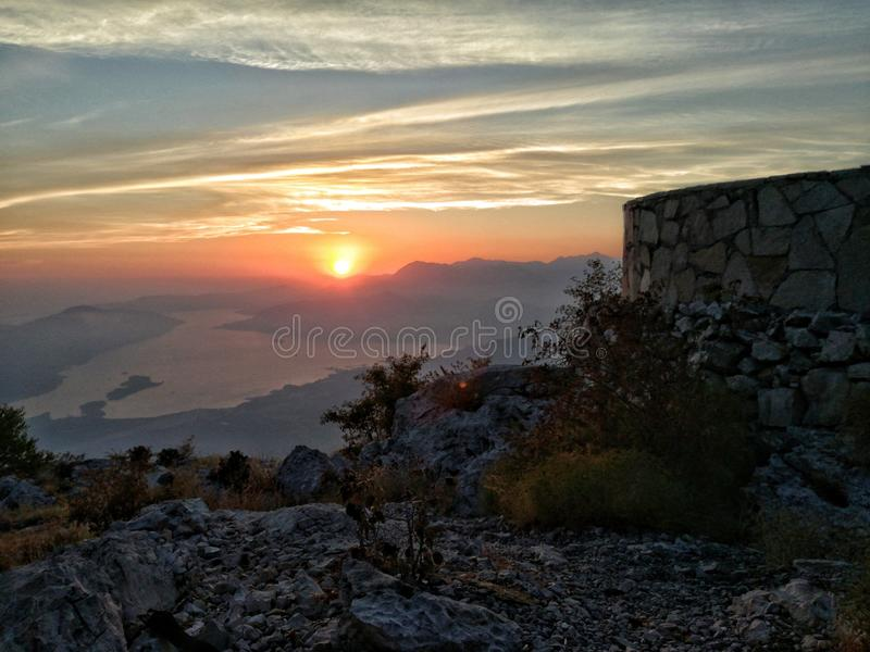 Simple beauty of nature. Beautyfull view at Kotor bay from Lovcen stock image