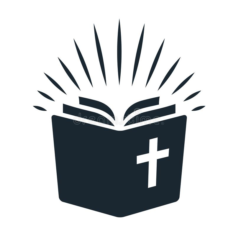 Simple Bible icon. Open book with rays of light shining from pages. Religion, church, Bible study concept contemporary style vector illustration