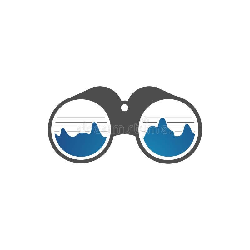 Simple binoculars logo an outdoor adventure template vector illustration design. Military, explorer, search, concept, distance, telescope, vision, tool, look stock illustration