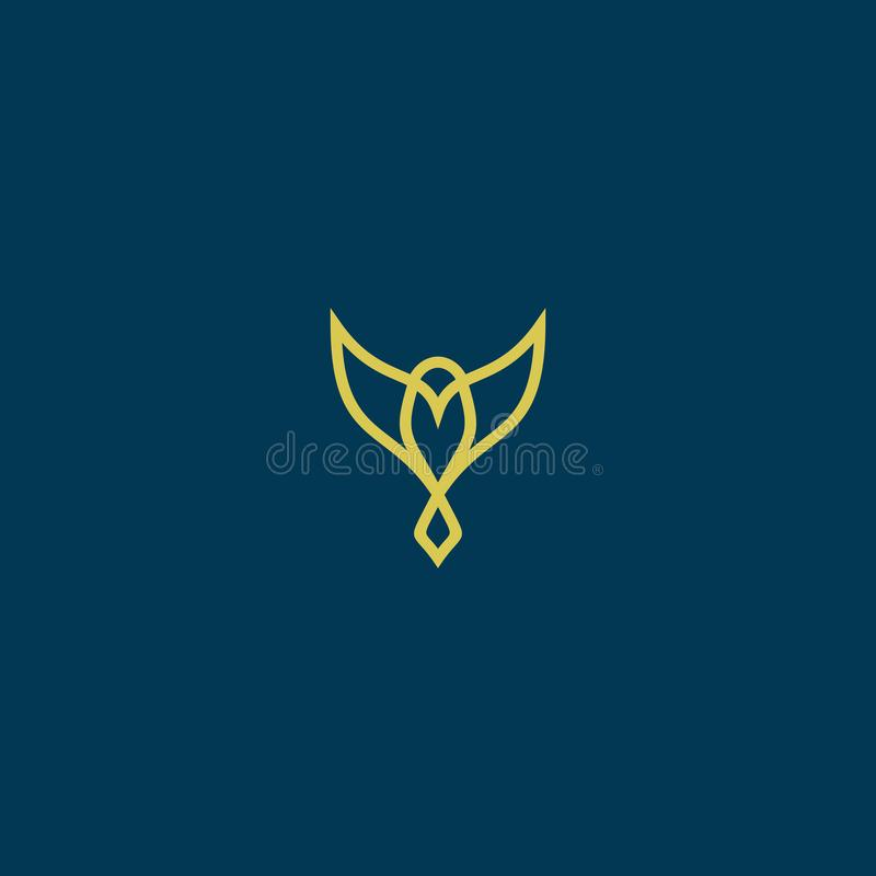 Simple bird line art logo design royalty free stock photography