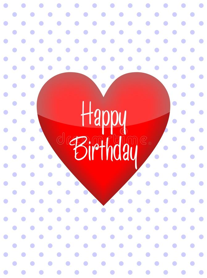 Simple birthday greeting card, a symbol of love. Design for print greetings card, shirt, banner, poster. Happy birthday. Happy Birthday, birthday card with royalty free illustration