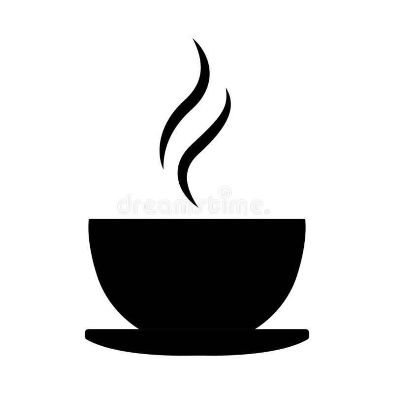 Simple, black coffee cup silhouette icon/logo. Hot drink icon. Isolated on white royalty free illustration