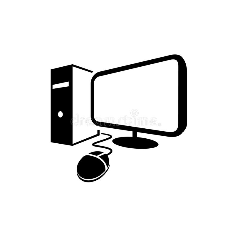 Simple black color desktop computer vector logo icon illustrations. Set, old, laptop, visual, mouse, work, unit, system, hardware, device, lcd, gray royalty free illustration