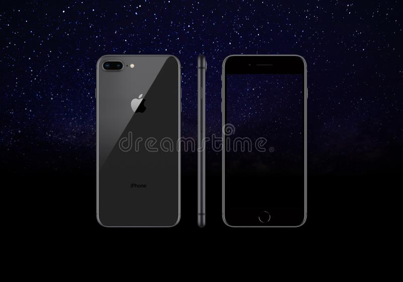 Black model of the iPhone 8 Plus isolated on a black background vector illustration