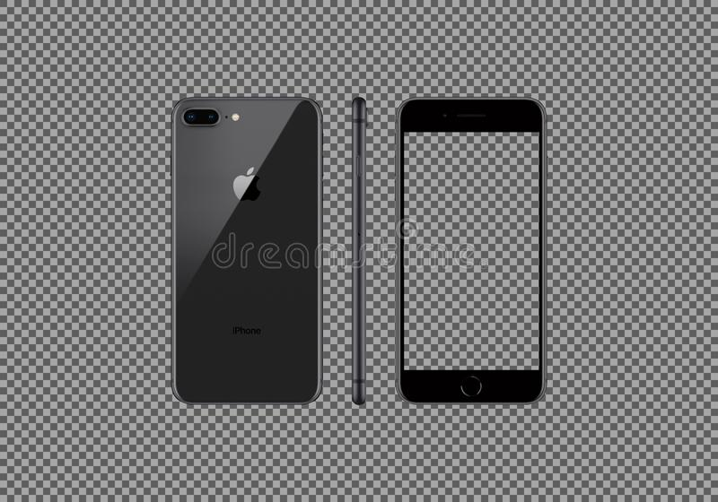 Black model of the iPhone 8 Plus isolated royalty free illustration
