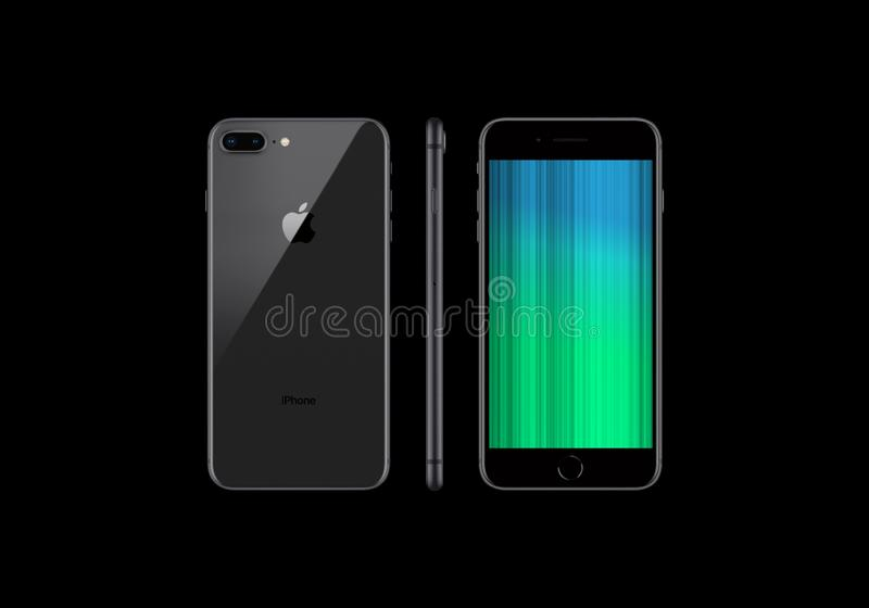 Black Model Of The Iphone 8 Plus Isolated On A Black Background Editorial Image Illustration Of Element Created 149963610
