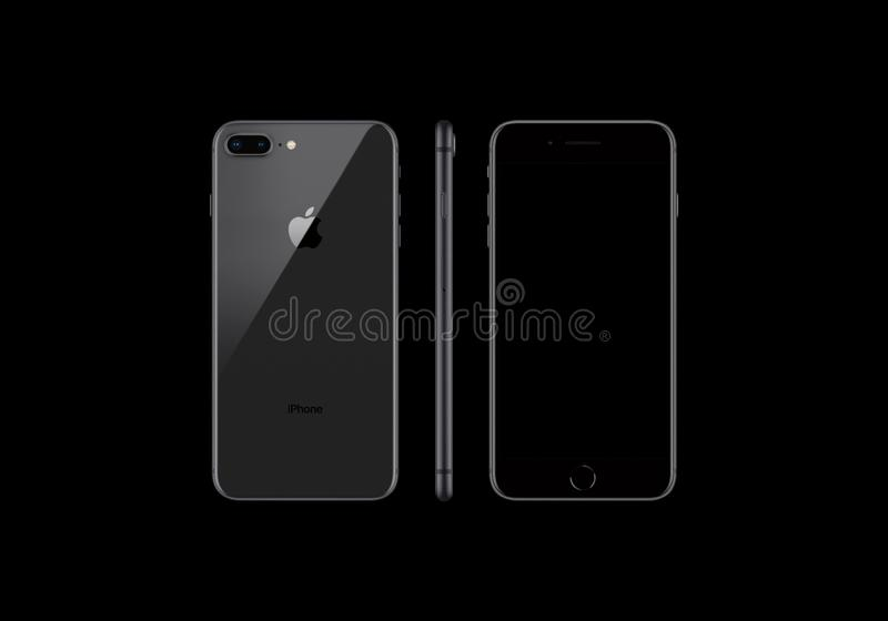 Black model of the iPhone 8 Plus isolated on a black background royalty free illustration