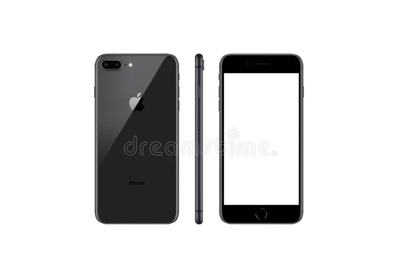 Black Model Of The Iphone 8 Plus Isolated On A Black