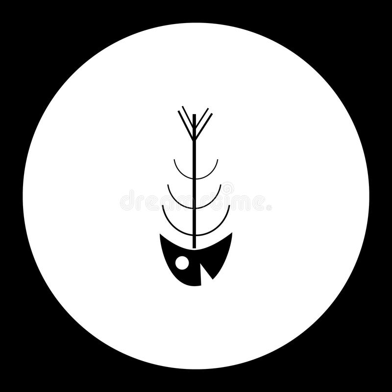 Download Simple Black Fish Bones Skeleton Icon Eps10 Stock Vector - Illustration of design, vertical: 80685089