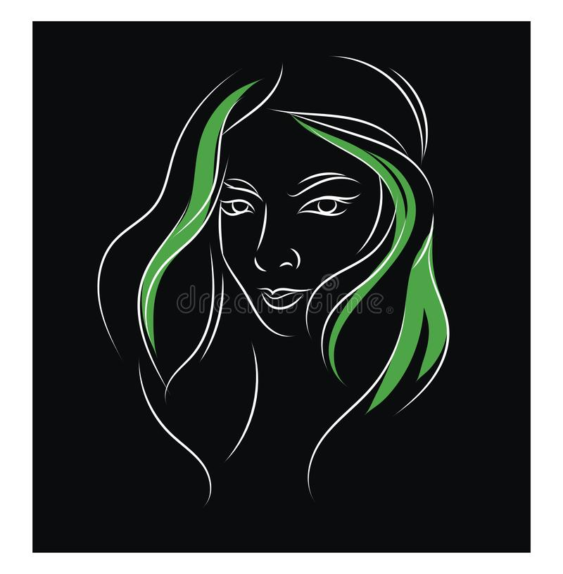 Simple Black Green And White Portrait Sketch Of A Girl Vector Illustration On Black Background With Ehite Frame Stock Vector Illustration Of Stylish Black 160061286