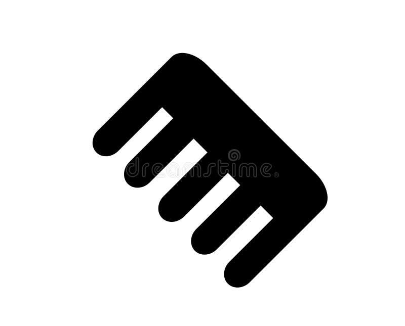 Simple, black icon of a plastic comb stock illustration