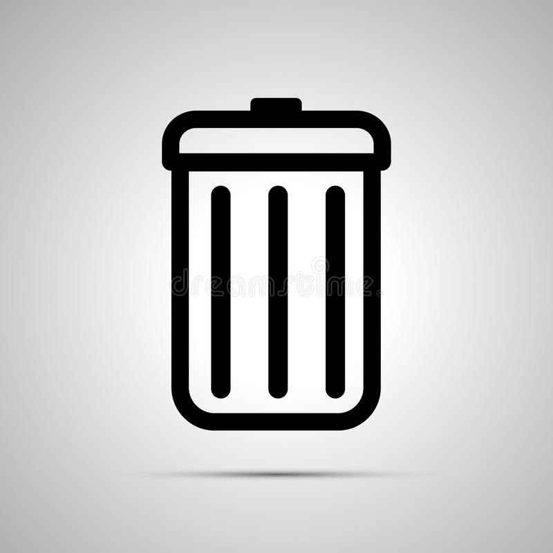 Simple black icon of trash can on light background vector illustration