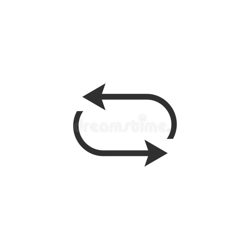 Simple black icon on white background. Repeat icon. Vector illustration web design element. curve arrow. Vector royalty free illustration