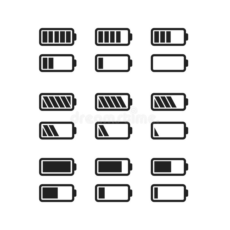 Simple black icons of batteries with different charge level isolated on white. Set of simple black icons of batteries with different charge level isolated on stock illustration