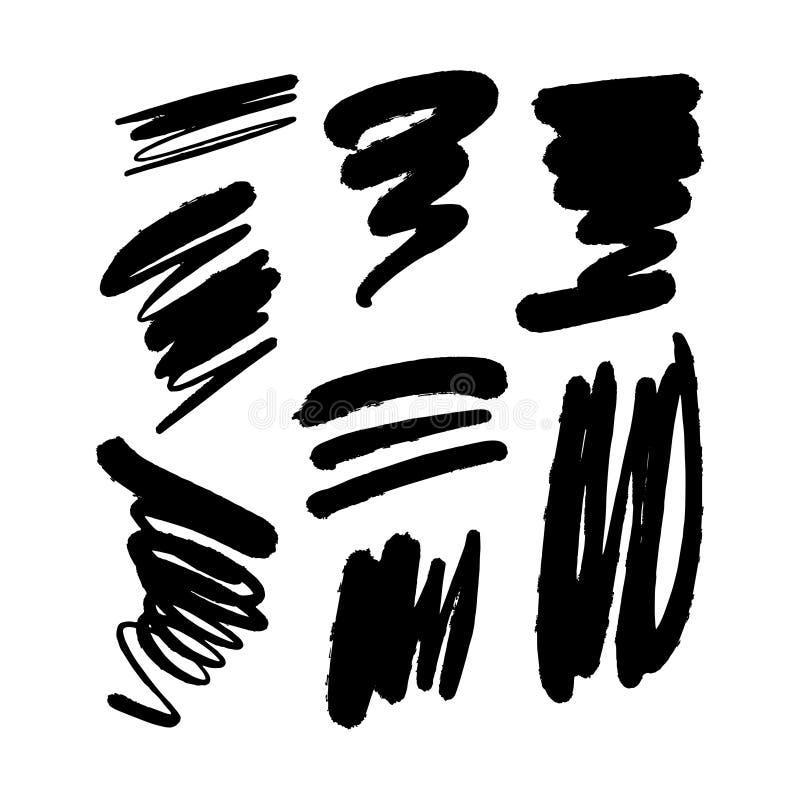 Simple black ink vector brush spots set, tangled lines. Hand drawn vector elements vector illustration