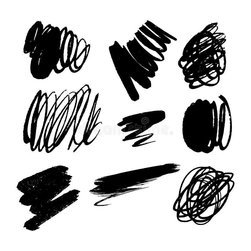Simple black ink vector brush spots set, tangled lines. Hand drawn vector elements stock illustration