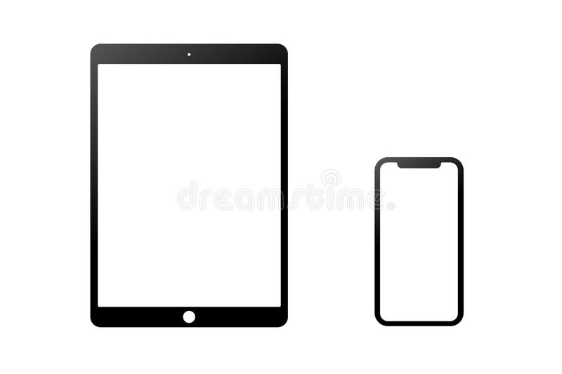 Black model of the iPad Pro and iPhone X isolated on a white background stock illustration