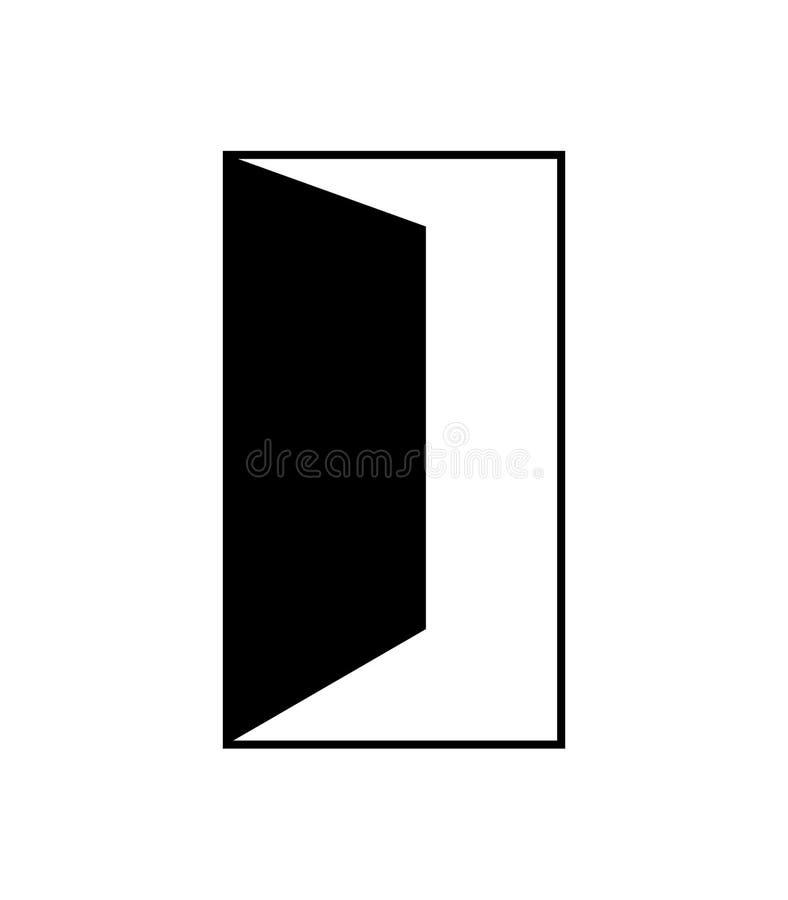 Simple, black open door icon stock illustration
