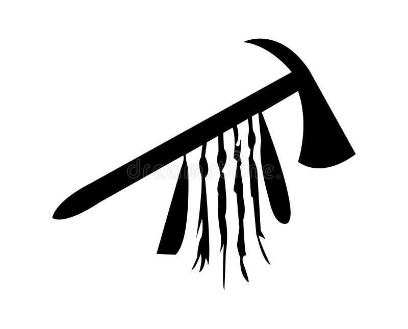 Simple, black tomahawk silhouette vector illustration