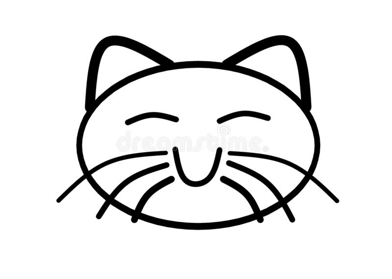 A simple black outlined shape of the face of a happy smiling cat royalty free stock photography