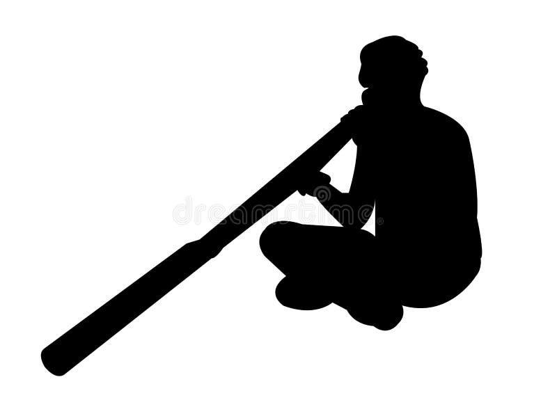 Aborigine man playing a didgeridoo. Simple black silhouette of an Aborigine man playing an Aboriginal instrument, a didgeridoo royalty free illustration