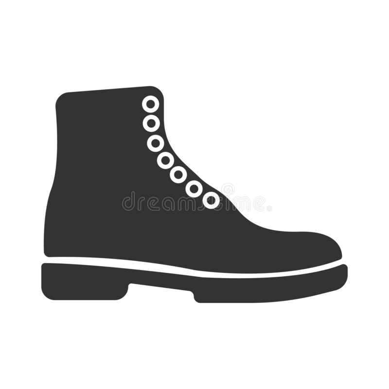 Simple black vector boots icon. Concept tourism, store, shop. Hiking boot icon, vector illustration design. Winter boots. Flat square icon. Boots icon in simple stock illustration