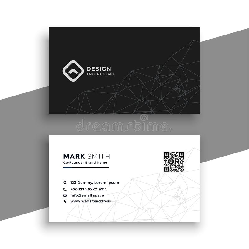Simple black and white business card vector illustration