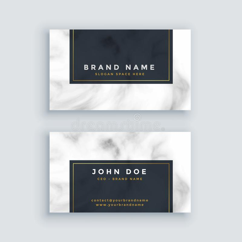 Simple black and white business card with marble texture royalty free illustration