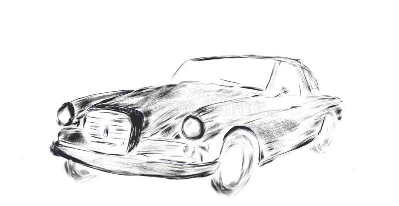 simple  black and white car sketch royalty free stock images