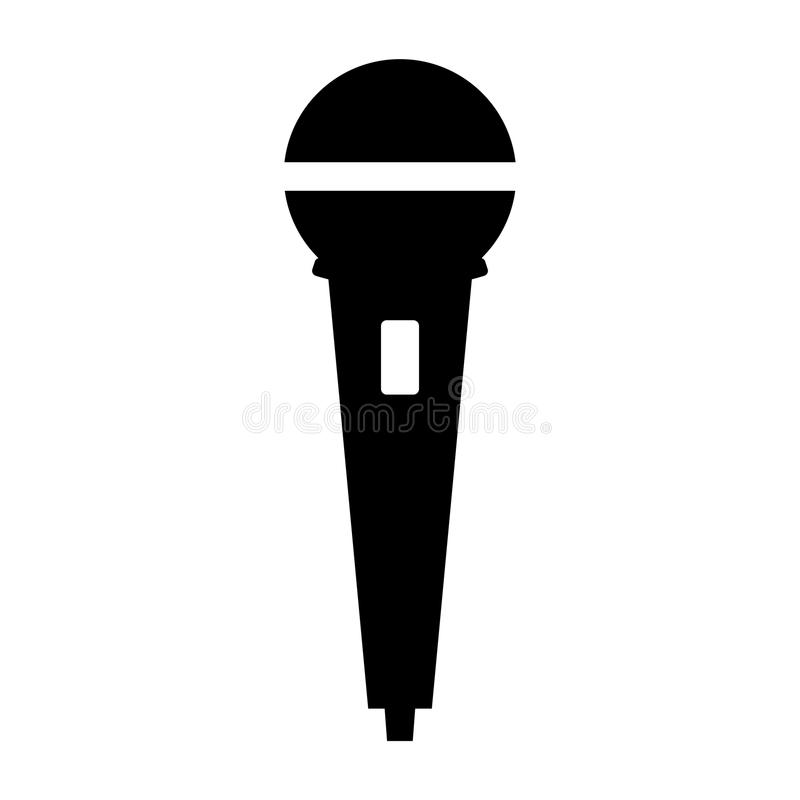 Simple, Black And White Microphone Icon/silhouette. Isolated On ...