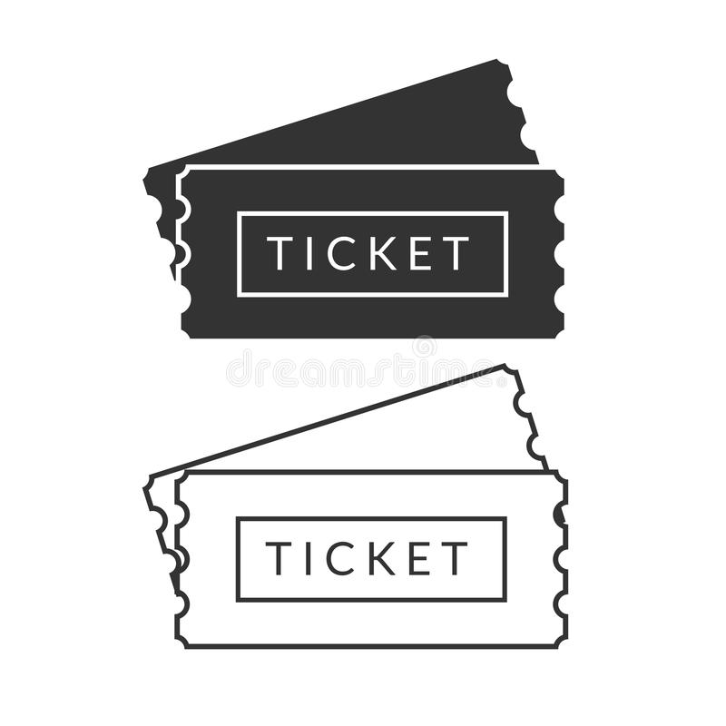 Simple black and white pass tickets royalty free illustration
