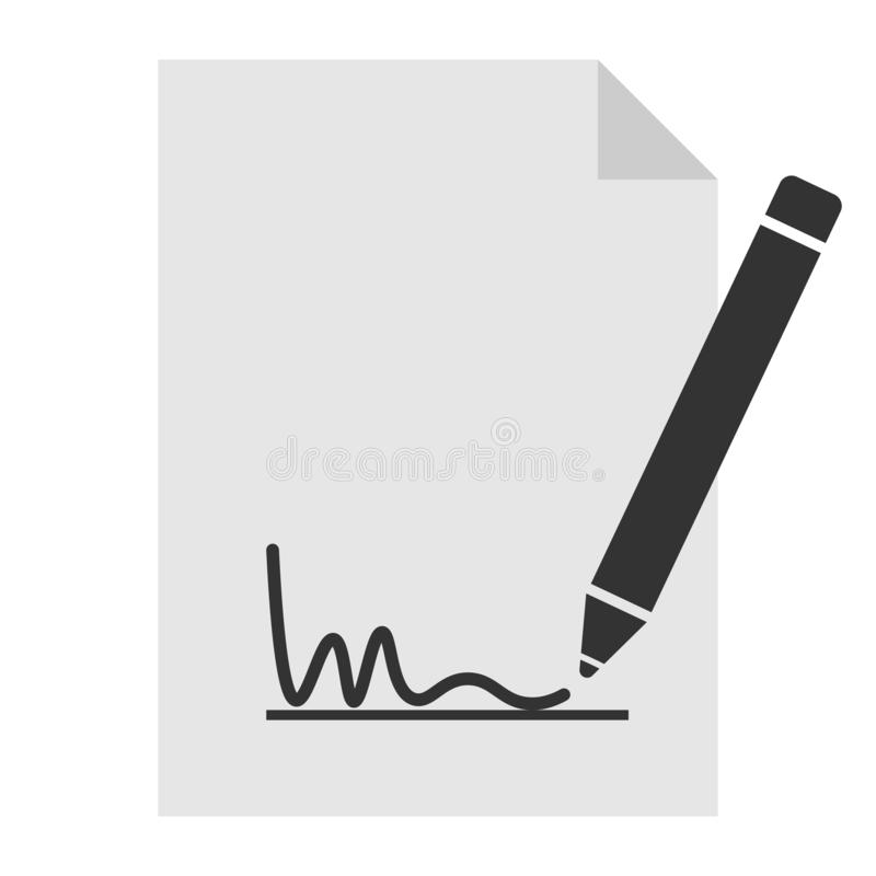 Simple black and white signing document icon or symbol. Vector illustration stock illustration