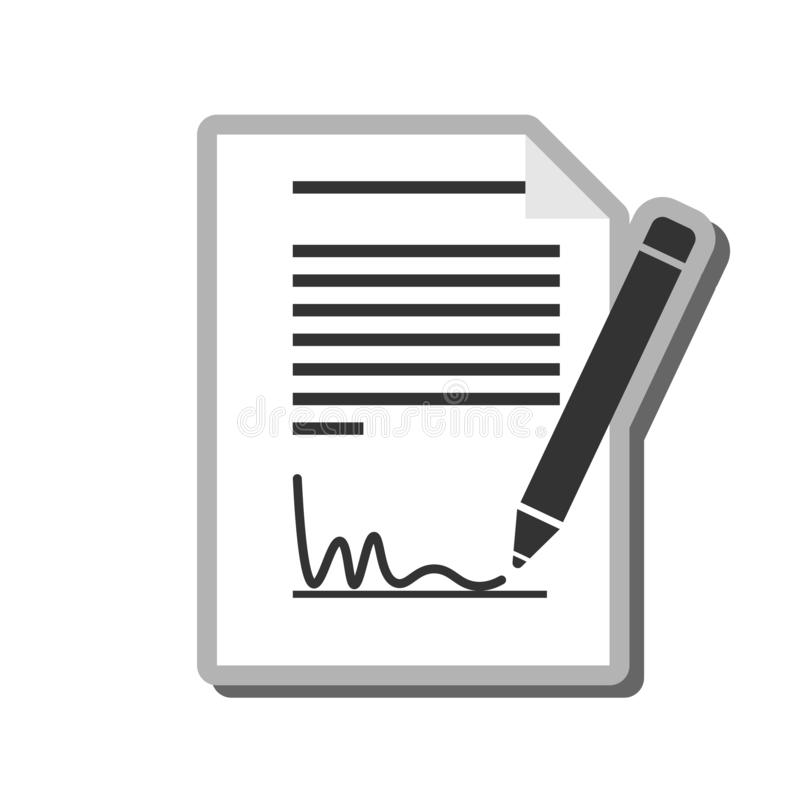 Simple black and white signing document icon or symbol. Vector illustration vector illustration
