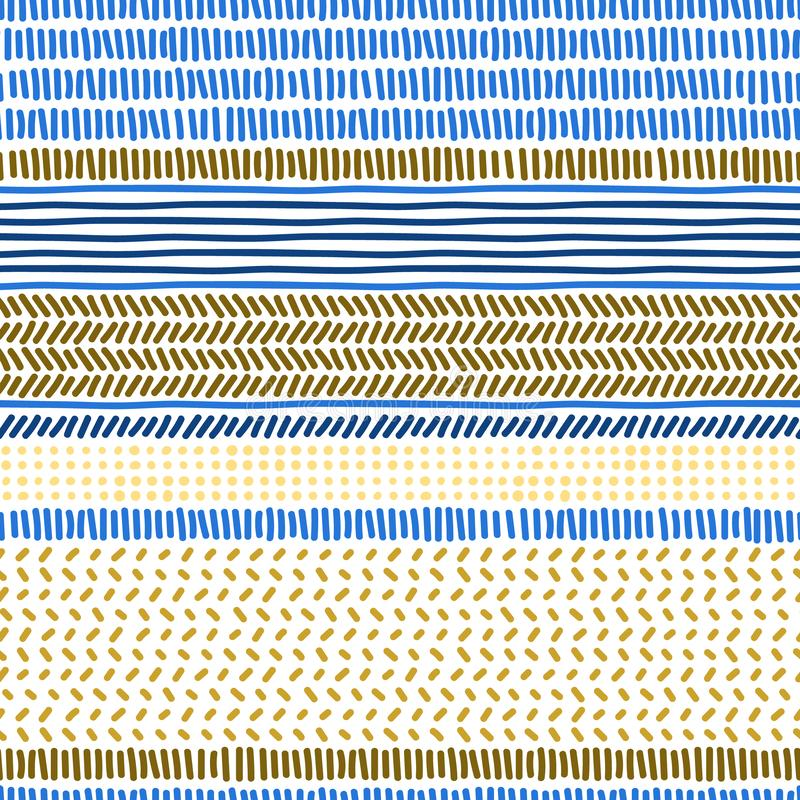 Simple blue anf brown doodle strokes dots and stripes geometric striped seamless patterns set, vector vector illustration