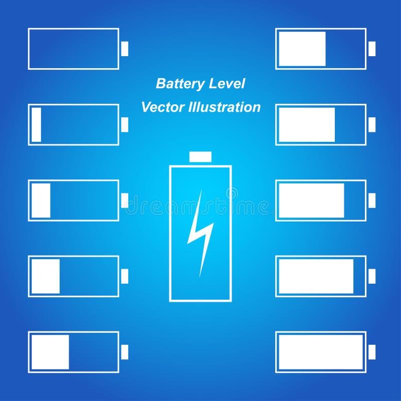 Simple blue battery level. Vector illustration royalty free illustration