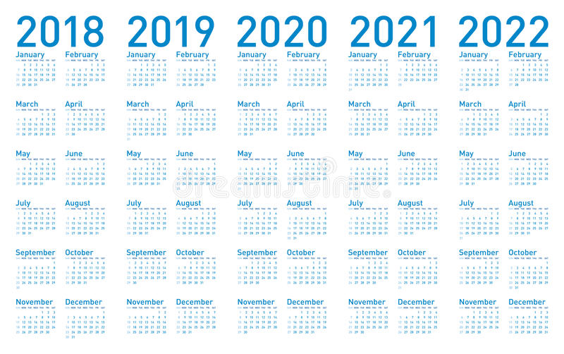 Simple Blue Calendar for years 2018, 2019, 2020, 2021 and 2022 vector illustration